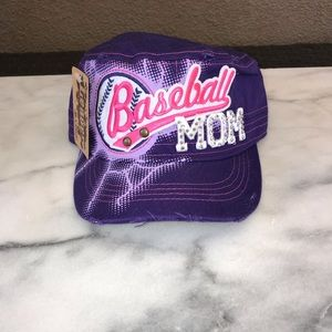 Accessories - 🌴BASEBALL MOM DISTRESSED PURPLE BALL CAP W/ BLING